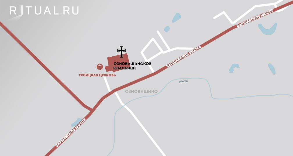 Кладбище Ознобишино на карте